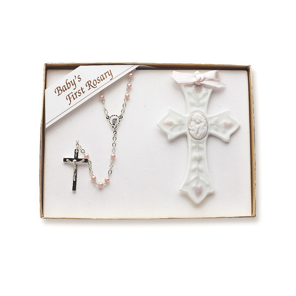 Porcelain and Silver-plated Girls Rosary and Cross Set