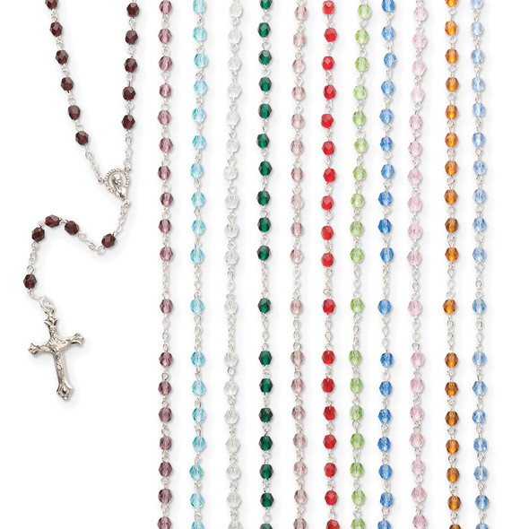 """17.5"""" Simulated Birthstone Rosary Necklace Assorted Set of 12"""