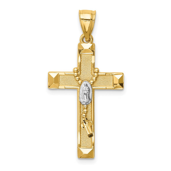 14k Yellow Gold w/Rhodium-Plating Cross w/Rosary Pendant C4770