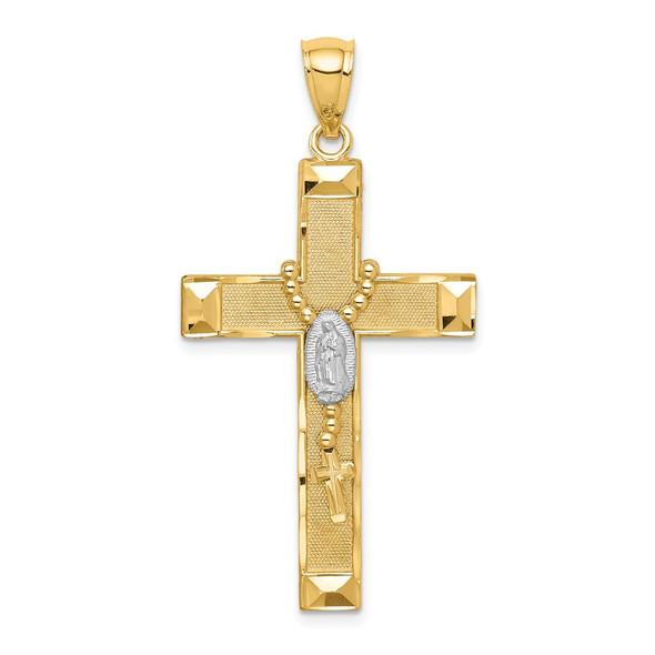14k Yellow Gold w/Rhodium-Plating Cross w/Rosary Pendant C4771
