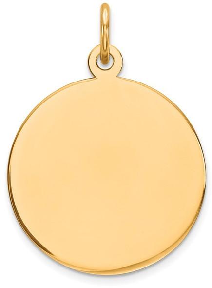 24mm x 17mm 14k Yellow Gold Round Disc Charm 09