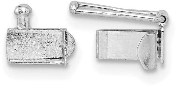 5.6mm x 3.2mm 14k White Gold Folded Tongue and Box Clasp