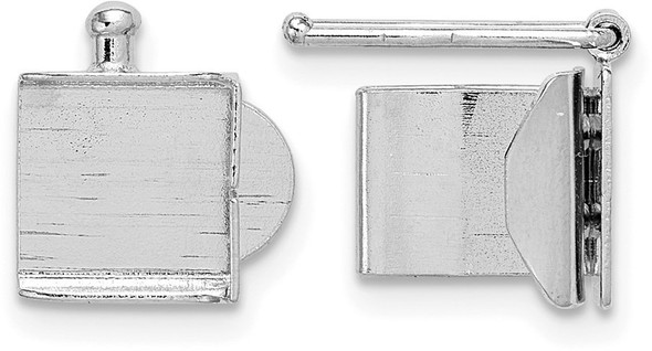 6.4mm 14k White Gold Folded Tongue and Box Clasp