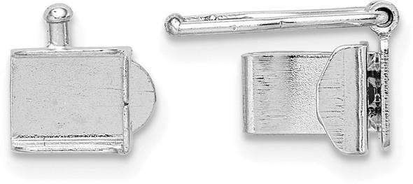5.25mm 14k White Gold Push Bar Box Clasp
