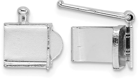 6.25mm 14k White Gold Push Bar Box Clasp
