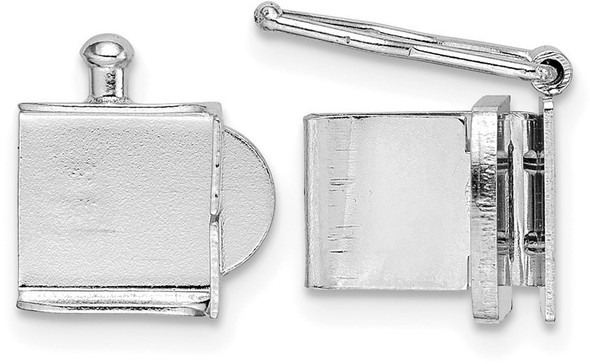 8mm 14k White Gold Push Bar Box Clasp