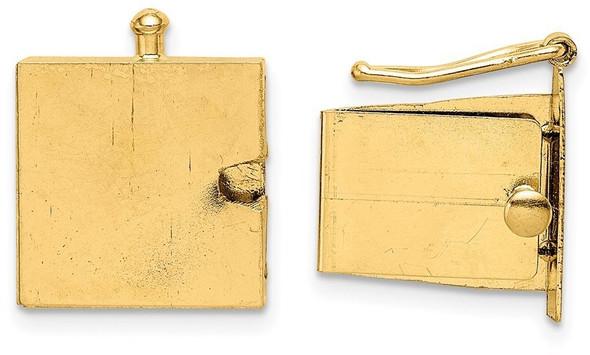 13mm 14k Yellow Gold Push Button Box Clasp