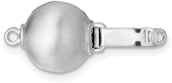10mm 14k White Gold Round Satin Bead Pearl Clasp