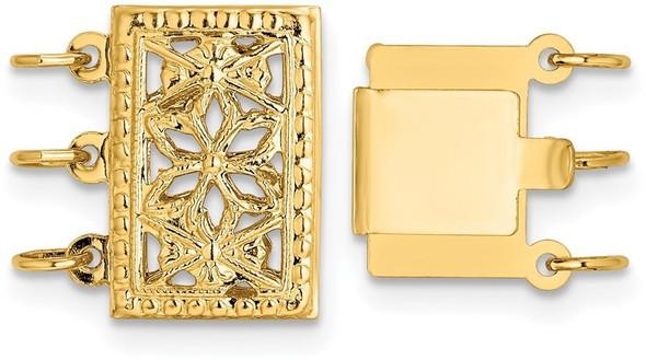 8.2mm 14k Yellow Gold Multi-Strand Bead/Pearl Clasp YG2001
