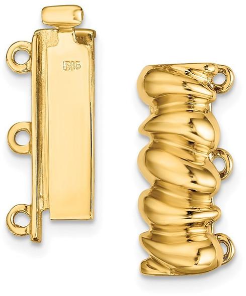 5.9mm 14k Yellow Gold Multi-Strand Bead/Pearl Clasp YG2016