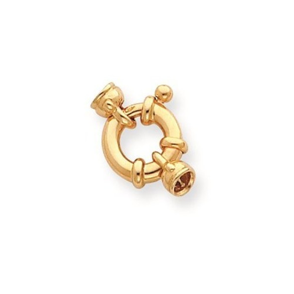 12mm 14k Yellow Gold Fancy Spring Ring Clasp w/ Round Endcaps