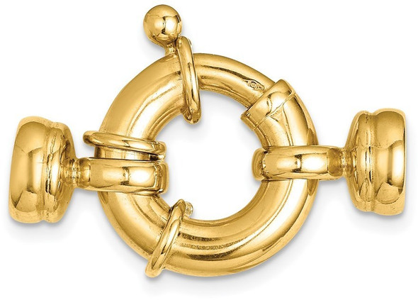 16mm 14k Yellow Gold Fancy Spring Ring Clasp w/ Round Endcaps