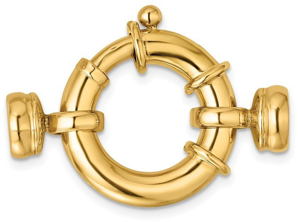 20mm 14k Yellow Gold Fancy Spring Ring Clasp w/ Round Endcaps
