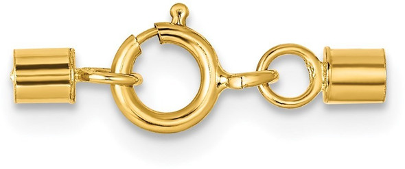 2mm 14k Yellow Gold Spring Ring Clasp w/ Round Endcaps