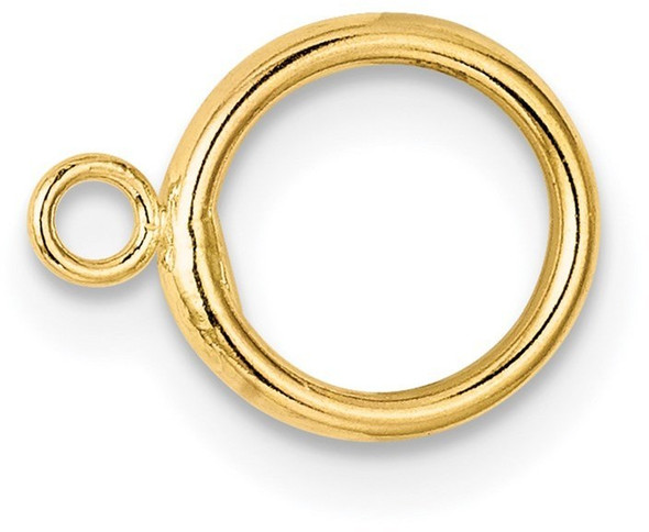 8mm 14k Yellow Gold Hollow Wire Toggle Ring for Clasp