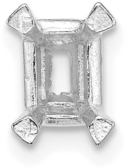 14k White Gold Emerald-Center Head w/ Pad 6 x 4.5mm Setting