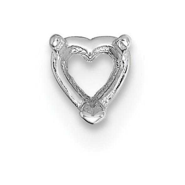 14k White Gold Heart 3-Prong 3.75mm Setting