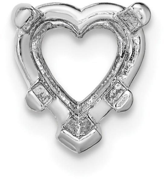 14k White Gold Heart 5-Prong 6.5mm Setting