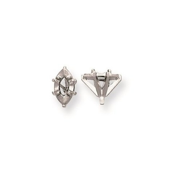 14k White Gold Illusion 6-Prong Miracle Marquise w/ Peg .08-.10 ct. Setting