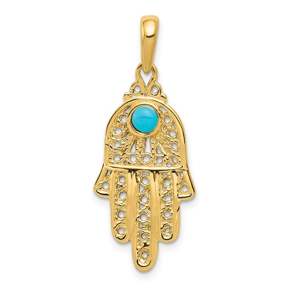14k Yellow Gold Simulated Turquoise Filigree Chamseh Pendant