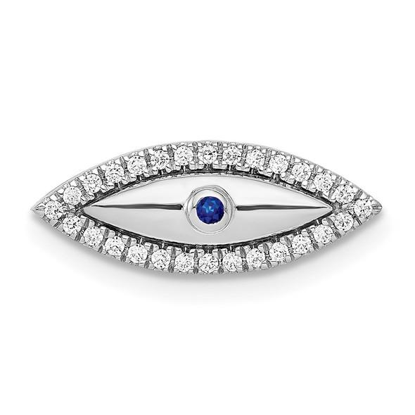 14k White Gold Diamond and Sapphire Evil Eye Slide Pendant