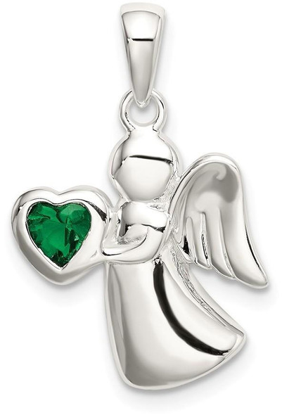 925 Sterling Silver Angel with Dark Green Cubic Zirconia Heart Pendant