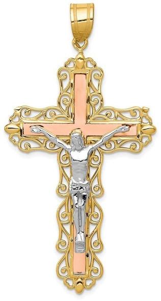 14k Yellow, White and Rose Gold Diamond-Cut Crucifix Pendant D3647