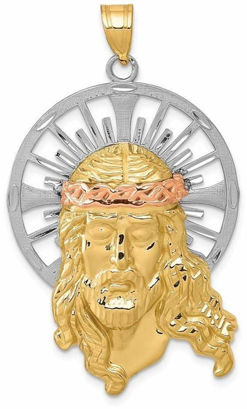 14k Yellow, White and Rose Gold Diamond-Cut Christ Pendant