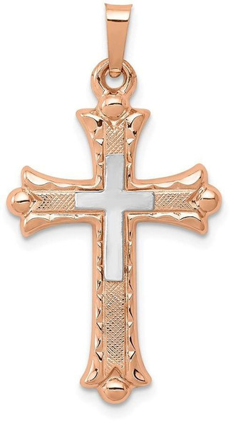 14k White and Rose Gold Textured, Brushed and Polished Budded Cross Pendant