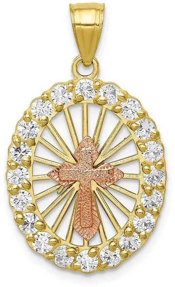 10k Yellow and Rose Gold Cubic Zirconia Cross Pendant