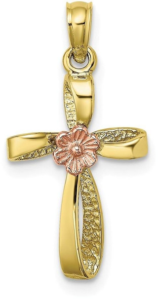 10k Yellow and Rose Gold Twisted Cross with Heart Pendant