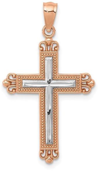 14k Rose Gold with Rhodium Plated Diamond-Cut Cross Pendant