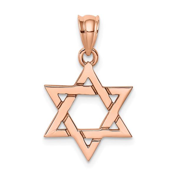 14k Rose Gold Polished Star Of David Pendant