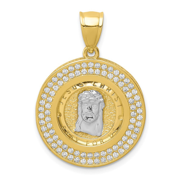 10k Yellow Gold with Rhodium-Plating CZ Channel Edge and Pave Jesus Face Pendant