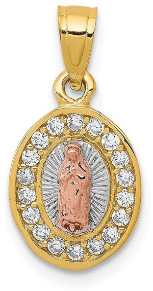14k Two-tone Gold w/ Rhodium Oval Cubic Zirconia Lady of Guadalupe Pendant K6345