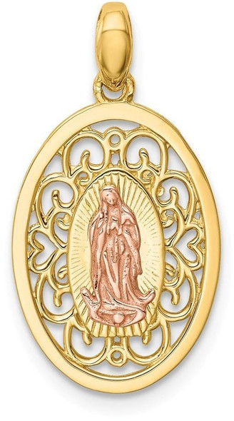 14k Two-tone Gold Our Lady of Guadalupe Pendant