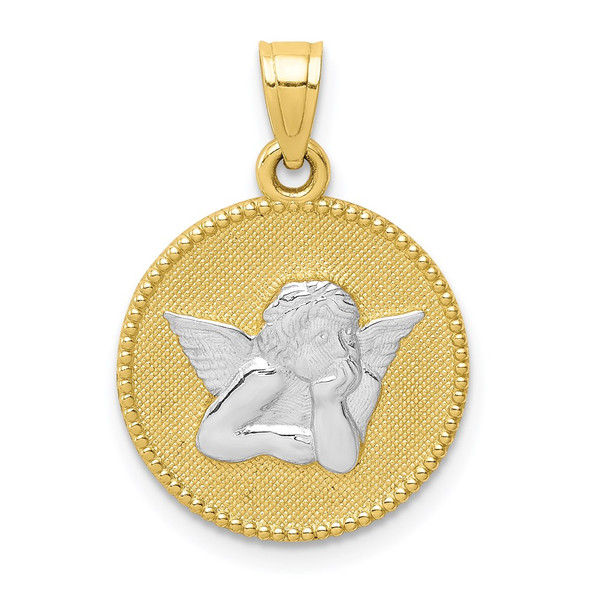 10k Yellow Gold with Rhodium-Plating Polished and Textured Angel Pendant 10C1366