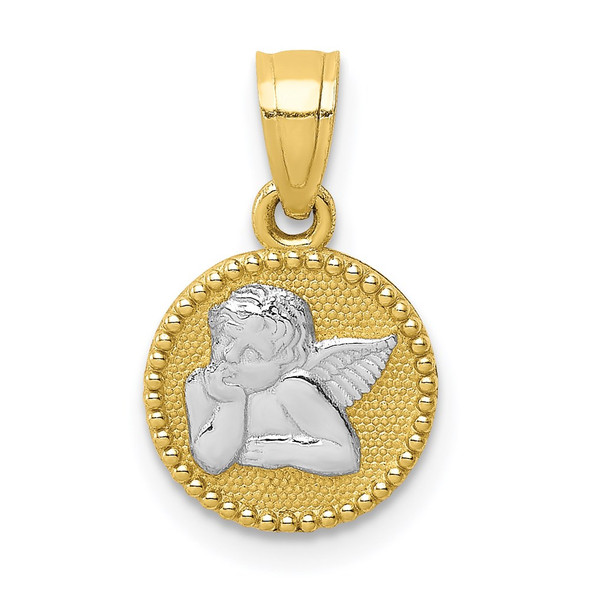 10k Yellow Gold with Rhodium-Plating Polished and Textured Angel Pendant 10C1367