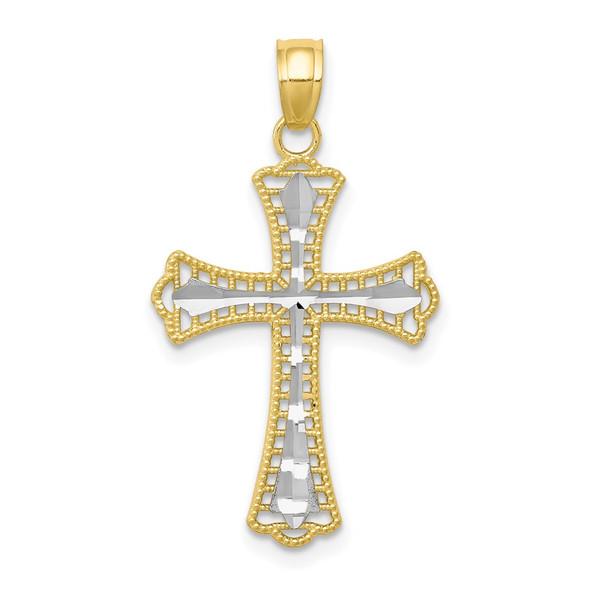 10k Yellow Gold with Rhodium-Plating Diamond-cut Cross Pendant 10C1133