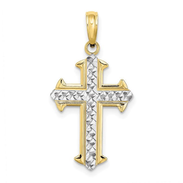 10k Yellow Gold with Rhodium-Plating Diamond-cut Cross Pendant 10k9421