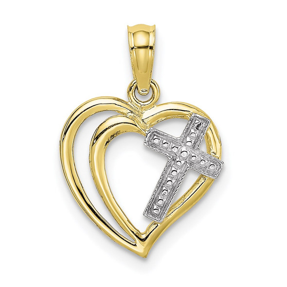 10k Yellow Gold With Rhodium-Plating-Plated Cross In Heart Pendant