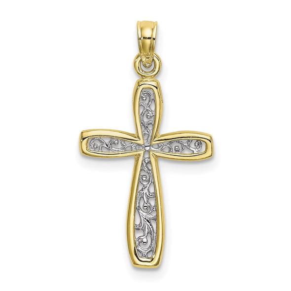10k Yellow Gold With Rhodium-Plating-Plated Filigree Cross Pendant