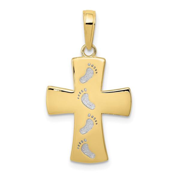 10k Yellow Gold With Rhodium-Plating Cross W/Footprints Pendant