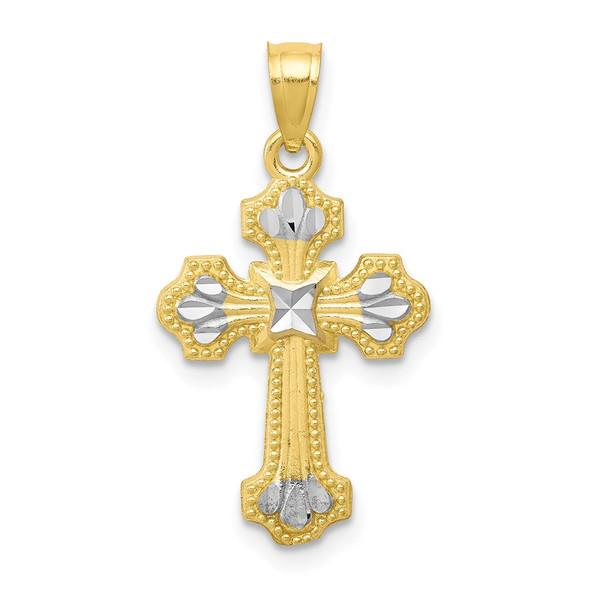 10k Yellow Gold with Rhodium-Plating Diamond-cut Cross Pendant 10C1122