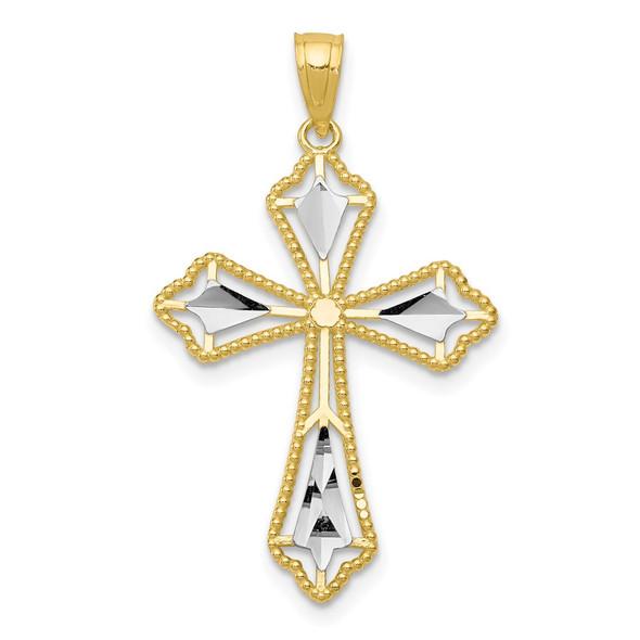 10k Yellow Gold with Rhodium-Plating Diamond-cut Cross Pendant 10C1314