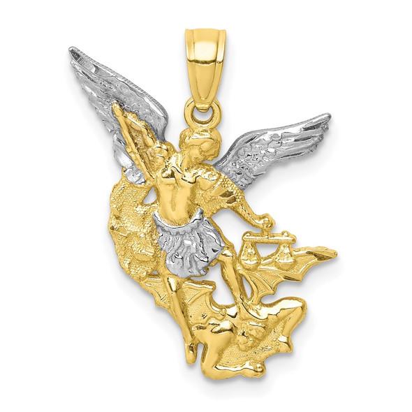 10k Yellow Gold With Rhodium-Plating Diamond-Cut Saint Michael Pendant