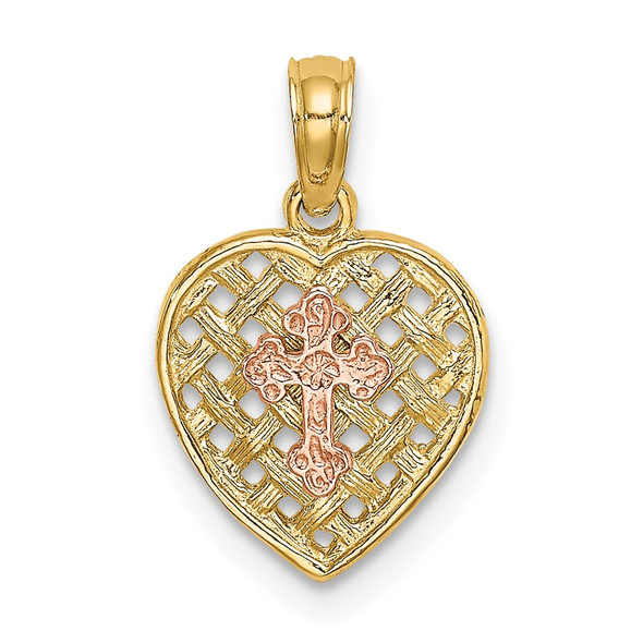 14k Two-Tone Gold Cross On Woven Heart Pendant