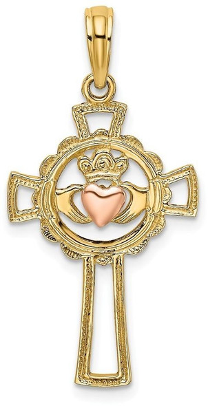 14k Two-tone Gold Cross with Claddagh and Heart Pendant