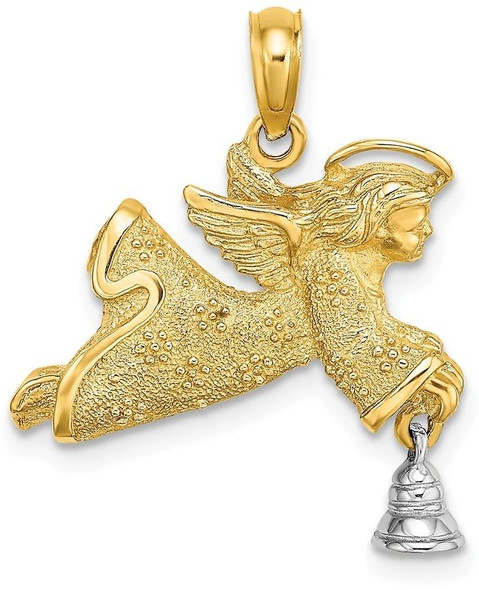 14k Gold with Rhodium 2-D Flying Angel with Moveable Bell Pendant K9325