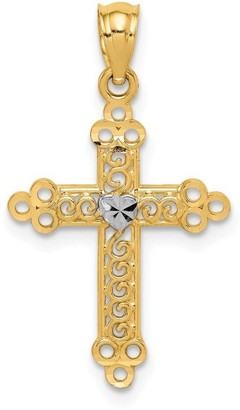 14k Gold with Rhodium-Plating Budded Cross Pendant